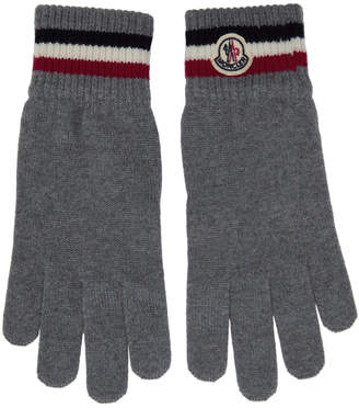 Moncler Grey Wool Corporate Gloves