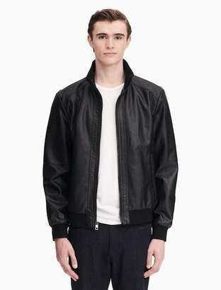 Calvin Klein faux leather zip bomber jacket
