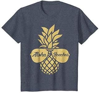 Pineapple Sunglasses Gold T shirt Aloha Beaches Hawaiian Tee