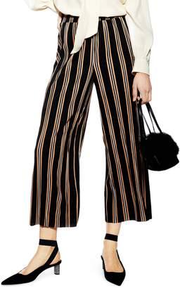 Topshop Stripe Plisse Crop Trousers
