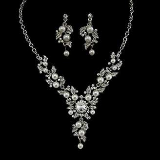 Crystal Pearl Bella-Vouge Beautiful Flowers Vine Necklace Silver Wedding Jewelry Set Necklace+Earrings-NO.142