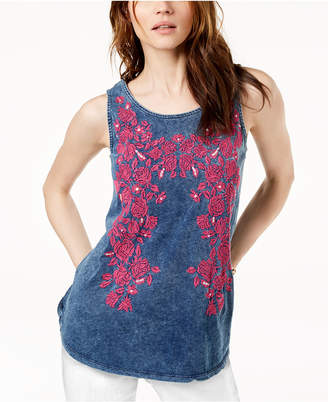 INC International Concepts I.N.C. Cotton Embroidered Tank, Created for Macy's