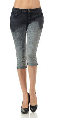 VIRGIN ONLY Women's Slim Fit Skinny Denim Capri Jeans (67 Denim, Size)