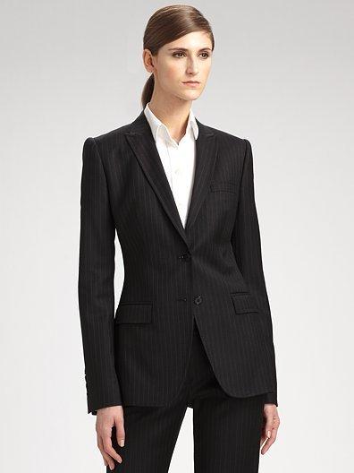 Dolce & Gabbana Stretch Wool Pinstriped Jacket