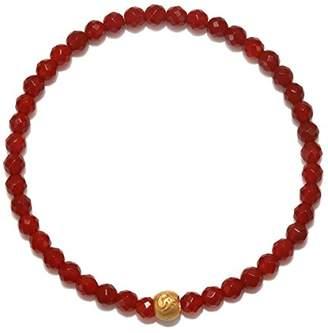 Satya Jewelry Carnelian Gold Plate Om Bead Stretch Bracelet