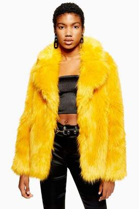 Topshop Womens Faux Fur Coat