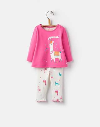 Joules Clothing Bright Pink Party Parade Poppy Long Sleeve Top and Frill Legging Set