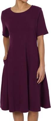 TheMogan Women's Short Sleeve Pocket Stretch Cotton Fit & Flare Dress Hot Pink L