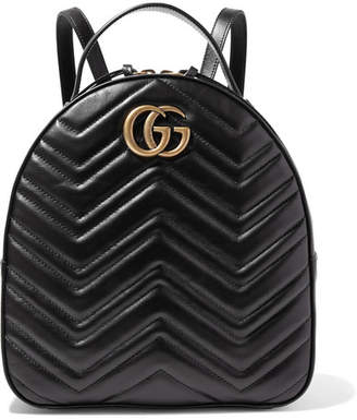 Gucci Gg Marmont Quilted Leather Backpack - Black