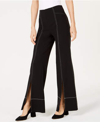 INC International Concepts I.n.c. Petite Contrast Stitch Split-Front Wide-Leg Pant, Created for Macy's