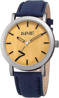 August Steiner Men's Beige/Pale Wood Dial Watch, 42mm wide