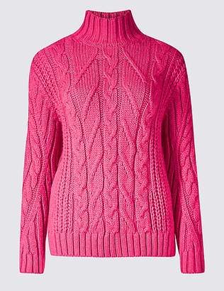 M&S Collection Cable Knit Funnel Neck Jumper