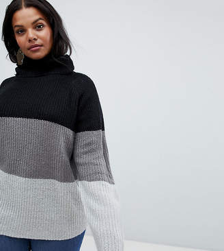 c6383e7366b Brave Soul Plus Onda Sweater in Color Block Stripe