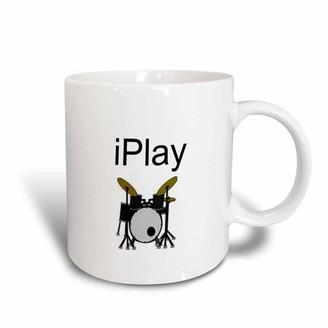 3dRose I play, picture of drum set, black lettering, Ceramic Mug, 15-ounce