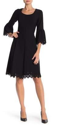 Robbie Bee 3\u002F4 Sleeve Scalloped Trim Dress