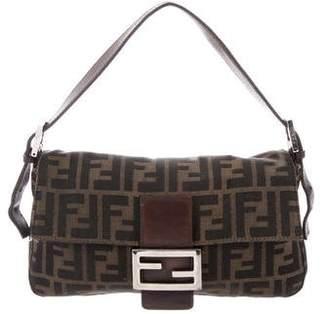 Fendi Leather-Trimmed Zucca Baguette