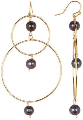Taolei Freshwater Pearl Detail Double Hoop Statement Earrings $23.97 thestylecure.com