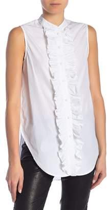 Frame Sleeveless Poplin Tux Shirt