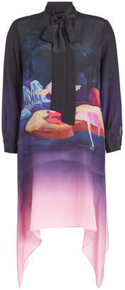 Mary Katrantzou Printed Silk Dress with Handkerchief Hem