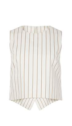 Tibi Sateen Stripe Sleeveless Top