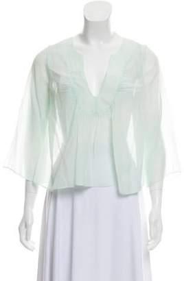 Chloé Silk Blend Sheer Top Mint Chloé Silk Blend Sheer Top