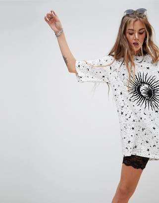 Motel Oversized T-Shirt Dress In Sunburst Print