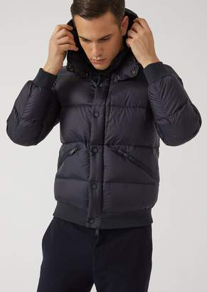 Emporio Armani Padded Jacket With Quilted Fabric And Knit Trim