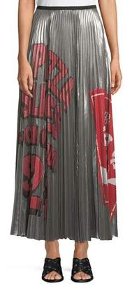 Marc Jacobs Pleated Metallic Graffiti-Print Long Skirt