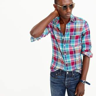 Indian madras shirt in red and teal plaid $59.50 thestylecure.com