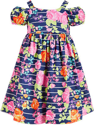Bonnie Jean Little Girls Floral-Print Cold-Shoulder Dress