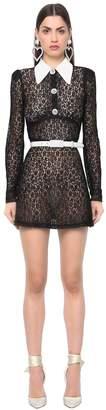 Sheer Lace Dress W/ Mikado Satin Collar