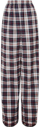 Balenciaga Tartan Cotton-flannel Wide-leg Pants - Black