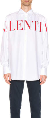 Valentino Long Sleeve Logo Shirt in White & Red | FWRD