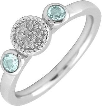 Simply Stacks Sterling & Double Round Aquamarine Diamond Ring