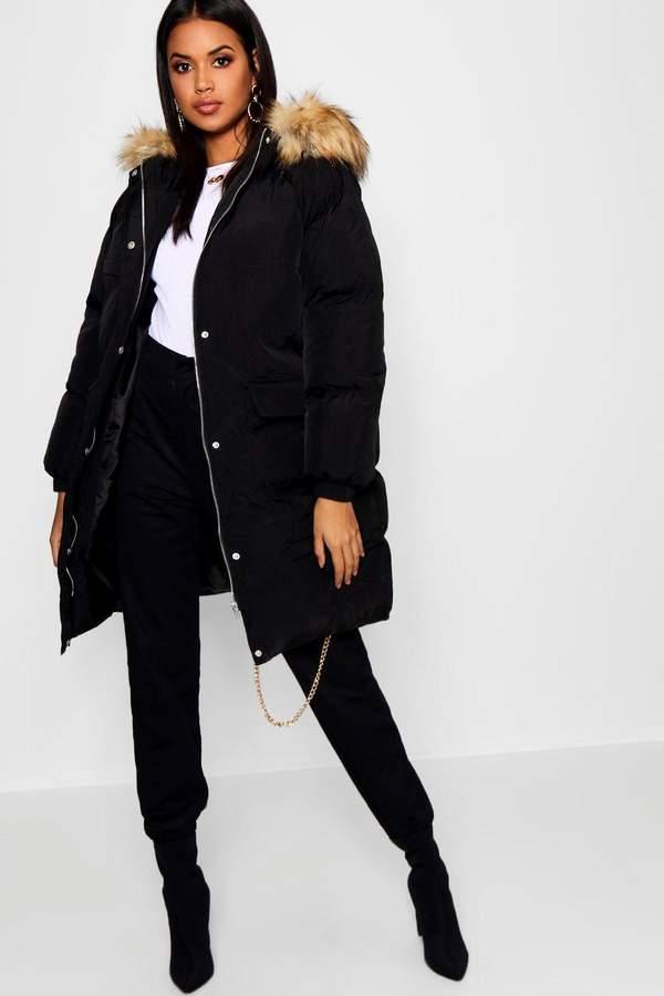 Longline Faux Fur Trim Hooded Puffer Coat