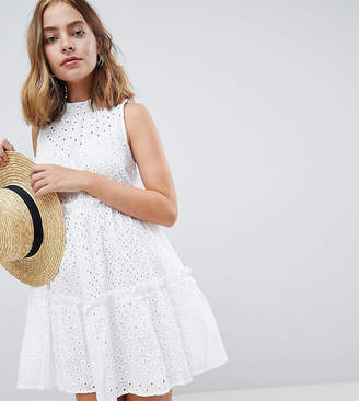 Asos ULTIMATE Sleeveless Broderie Trapeze mini dress