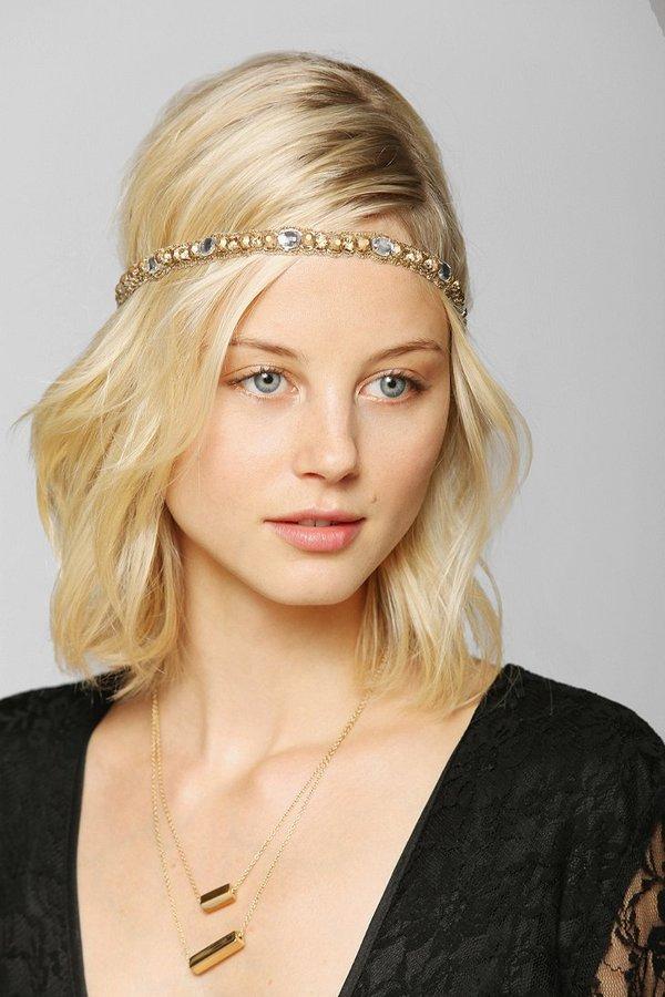 Deepa Gurnani Gold Stud Strappy Headwrap
