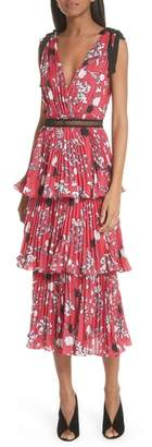 Self-Portrait Pleated Tier Midi Dress