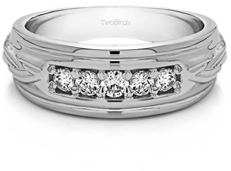 TwoBirch Brilliant Moissanite Mounted in Sterling Silver Moissanite Wide Men's Ring with Open End Design(0.45crt)