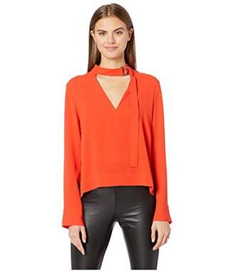 BCBGMAXAZRIA Women's High-Low Neck Tie Blouse,M