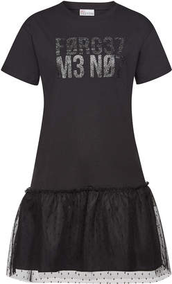 RED Valentino Printed Cotton T-Shirt Dress with Point d'Esprit Tulle