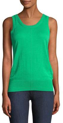 Helmut Lang Folded Cotton-Cashmere Ribbed Tank Top