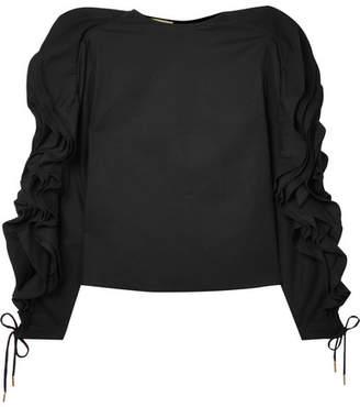 Antonio Berardi Ruffled Lace-up Cotton-blend Poplin Blouse - Black