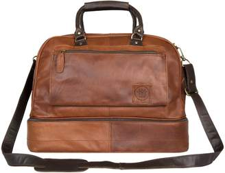At Wolf Badger Raleigh Mahi Leather Large Holdall Bag With Under Compartment In Vintage Brown Mahogany