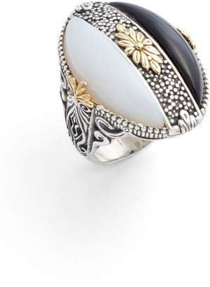 Konstantino Etched Silver Agate Ring