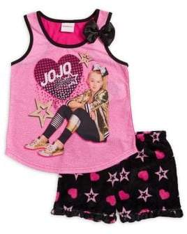 AME Sleepwear Little Girl's and Girl's Two-Piece Jojo Top and Shorts Pajama Set