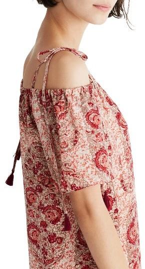 Women's Madewell Cold Shoulder Silk Dress