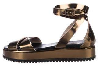 0837518f7634f AGL Metallic Leather Strap Sandals
