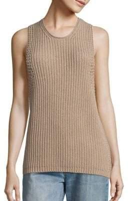 Vince Waffle-Knit Sleeveless Cotton Sweater