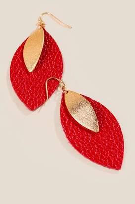 francesca's Laynie Leather Leaf Drop Earrings - Red